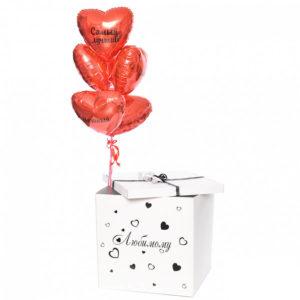 Коробка с шарами. Фольгированные сердца